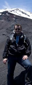 Taking a break halfway up Mt Fuji.