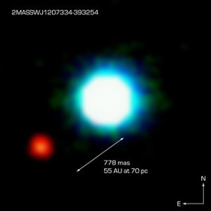 The faint red companion 2M1207b is about 5-7 times as massive as jupiter. Although it has a mass low enough to be a planet, it is far enough from its host that it could not have formed from a disk, like planets do. Thus, it is an example for a planetary-mass object.