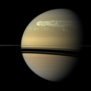 Saturn's 2010-2011 Great Storm as seen by Cassini's ISS camera. Once in about every Saturnian year (~30 years) a giant storm system develops which, in a few weeks, engulfs the northern hemisphere.