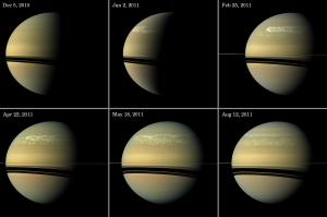 The 2010-2011 Storm is the first one observed by a spacecraft in the saturnian system.