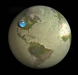 Not the ocean planet you were told about: By weight Earth has only very little water, below a percent.