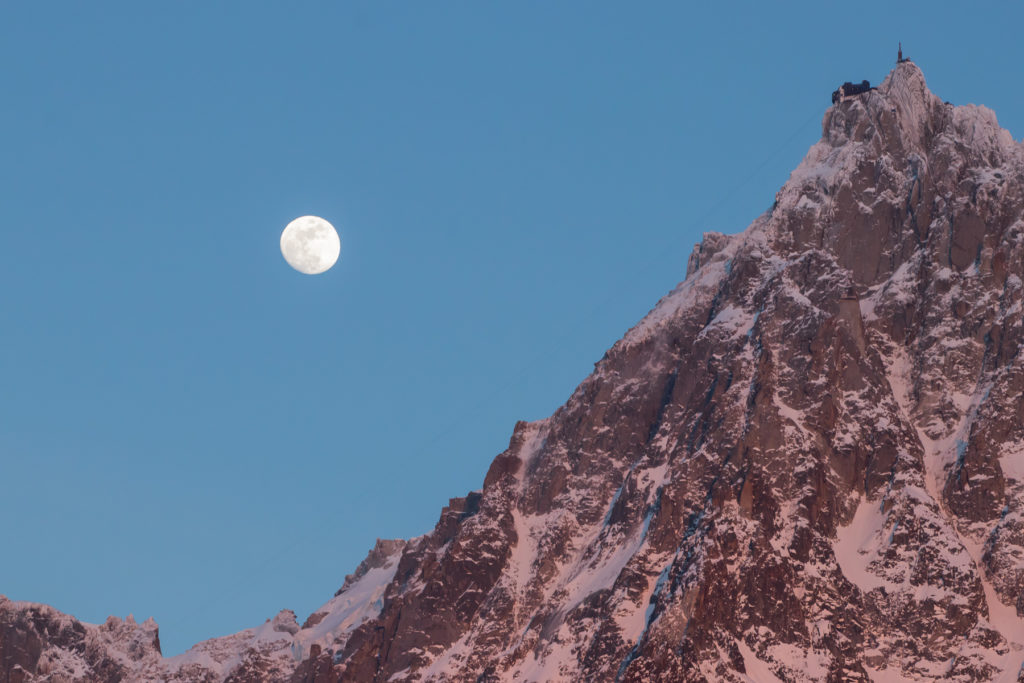 Moonrise and Aiguille du Midi with its astonishing viewtower