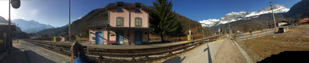 Hanging out at the Servoz Train Station in the French Alps